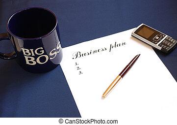 escritura, de, plan trabajo empresa