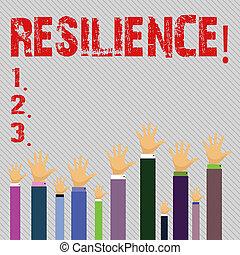 escritura, dificultades, empresa / negocio, recobrar, conceptual, texto, mano, resilience., actuación, foto, persistence., rápidamente, capacidad