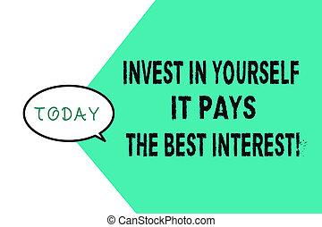 escritura, empresa / negocio, él, paga, texto, usted mismo, invierta, sí mismo, futuro, plan, palabra, concepto, nutrición, interest., mejor