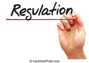 escritura, empresa / negocio, regulación, mano, concepto