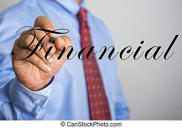 escritura empresario, financiero, en, virtual, pantalla