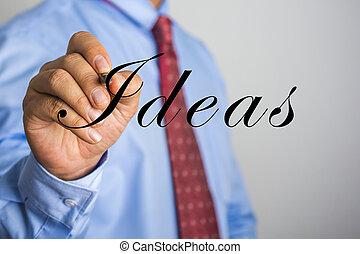 escritura empresario, ideas, en, virtual, pantalla