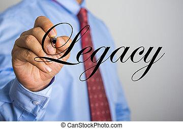 escritura empresario, legado, palabra, en, virtual, pantalla
