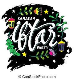 escritura, fiesta, iftar, cepillo, calligraphy.