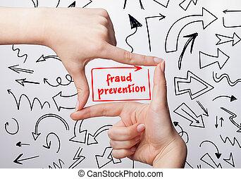 escritura, fraude, empresa / negocio, word:, internet, marketing., prevención, tecnología, mujer, joven