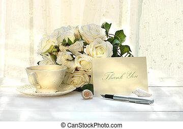 escritura, gracias card, con, pluma