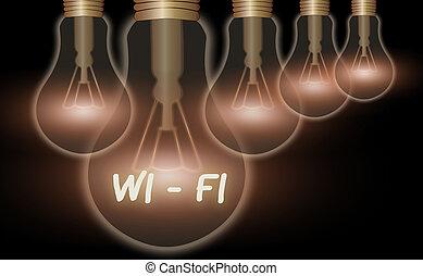 escritura, highspeed, texto, wi, significado, radio, connections., concepto, él, internet, proporciona, red, fi.