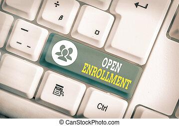 escritura, insurance., texto, anualmente, período, lata, enrollment., abierto, escritura, cuándo, significado, actuación, enroll, concepto