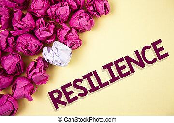escritura, luego, texto, palabra, persistencia, plano de fondo, resilience., concepto, llanura, empresa / negocio, recobrar, papel arrugado, pelotas, capacidad, dificultades, escrito, it., rápidamente