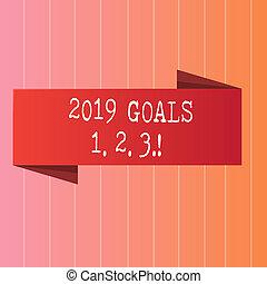 escritura, nota, actuación, 2019, metas, 1, 2, 3., empresa / negocio, foto, showcasing, resolución, organizar, principios, futuro, plans.