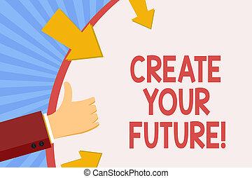 escritura, nota, actuación, crear, su, future., empresa / negocio, foto, showcasing, objetivos de carrera, blancos, mejora, conjunto, planes, learning.