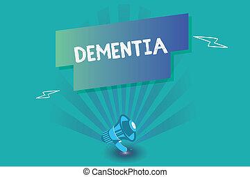 escritura, nota, actuación, dementia., empresa / negocio, foto, showcasing, deterioro, en, pérdida de memoria, de, cognoscitivo, funcionar, enfermedad del cerebro