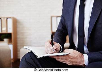 escritura, plan, de, trabajo