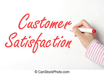escritura, satisfacción del cliente, palabra, en, whiteboard