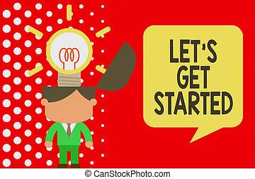 escritura, started., posición, surging, actuación, traer, algo, nota, innovador, conseguir, comenzar, foto, exitoso, showcasing, empresa / negocio, él, traje, trabajando, hombre, solutions., dejar, o, s, corbata