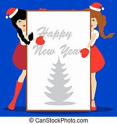 escritura, texto, azul, papel, año, plano de fondo, ilustración, santa, hoja, navidad, niñas, vector, nuevo, blanco