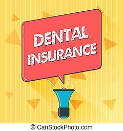 escritura, texto, dental, insurance., concepto, significado, forma, de, salud, diseñado, para pagar, porción, o, lleno, de, costes