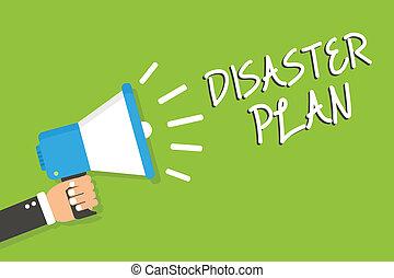 escritura, texto, desastre, plan., concepto, significado, responder, a, emergencia, preparación, supervivencia, y, kit de primeros auxilios, hombre, tenencia, megáfono, altavoz, fondo verde, mensaje, oratoria, loud.