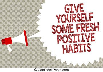 escritura, texto, elasticidad, usted mismo, algunos, fresco, positivo, habits., concepto, significado, obtenga sano, positivo, rutinas, megáfono, altavoz, burbuja del discurso, mensaje, fondo gris, halftone.