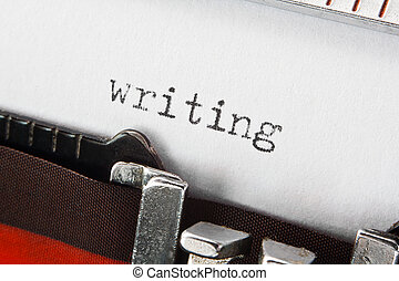 escritura, texto, en, retro, máquina de escribir