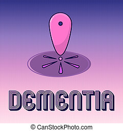 escritura, texto, escritura, dementia., concepto, significado, deterioro, en, pérdida de memoria, de, cognoscitivo, funcionar, enfermedad del cerebro