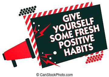 escritura, texto, escritura, elasticidad, usted mismo, algunos, fresco, positivo, habits., concepto, significado, obtenga sano, positivo, rutinas, megáfono, altavoz, rojo, marco rayado, importante, mensaje, oratoria, loud.