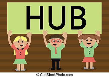 escritura, texto, escritura, hub., concepto, significado, el, eficaz, centro, de, un, actividad, región, y, red, central, parte