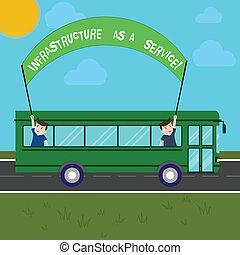 escritura, texto, escritura, infraestructura, como, un, service., concepto, significado, red, tecnologías, ayuda, y, apoyo, dos, niños, dentro, eduque autobús, el sostener hacia fuera, bandera, con, palo, en, un, día, trip.