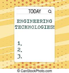 escritura, texto, escritura, ingeniería, technologies., concepto, significado, aplicación, de, científico, y, ingeniería, conocimiento, búsqueda, barra, con, lupa, icono, foto, en, blanco, vertical, blanco, screen.