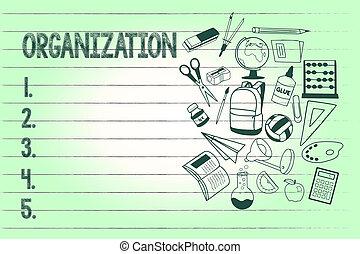 escritura, texto, escritura, organization., concepto, significado, grupo organizado, de, actuación, con, un, particular, propósito, empresa / negocio
