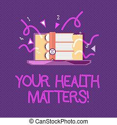 escritura, texto, escritura, su, salud, matters., concepto, significado, físico, salud, es, importante, estancia, ajuste y sano