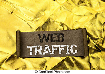 escritura, texto, escritura, tela, traffic., concepto, significado, internet, alza, visitantes, audiencia, visitas, clientes, viewers, escrito, en, cartón, pedazo, en, el, dorado, textured, fondo.