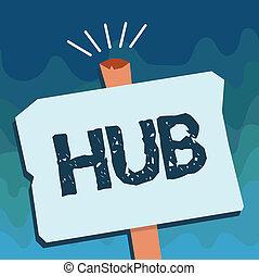 escritura, texto, hub., concepto, significado, el, eficaz, centro, de, un, actividad, región, y, red, central, parte