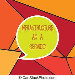 escritura, texto, infraestructura, como, un, service., concepto, significado, red, tecnologías, ayuda, y, apoyo, blanco, burbuja del discurso, pegatina, con, frontera, vacío, texto, globo, diálogo, box.