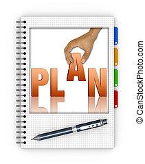 escritura, un, acción, plan