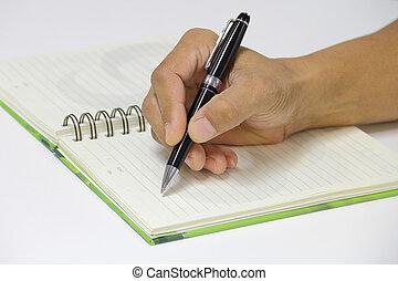 escritura, un, cita, en, el, vacío, cuaderno