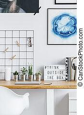 escrivaninha, em, hipster, escritório lar