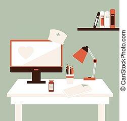 escrivaninha, ilustração, doutor
