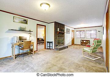 escrivaninha, lareira, sala, espaçoso