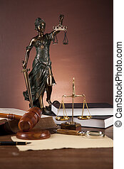 escrivaninha madeira, em, um, firma lei