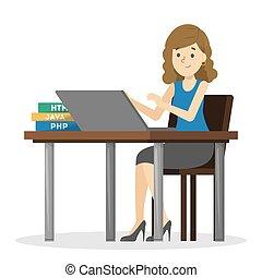 escrivaninha, mulher, trabalhando, sentando