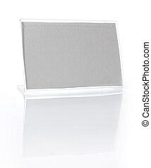 escrivaninha, nametag, isolado, branco