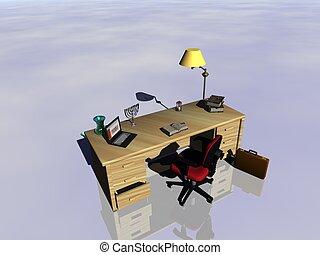 escrivaninha, reflecting.