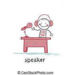 escrivaninha, seu, orador, conta, fones