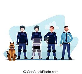 escuadra, perro, policía, alboroto, caracteres