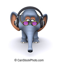 escucha, 3d, auriculares, elefante