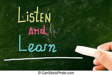 escuchar, concepto, aprender