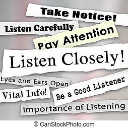 escuchar, de cerca, periódico, titulares, palabras, paga,...