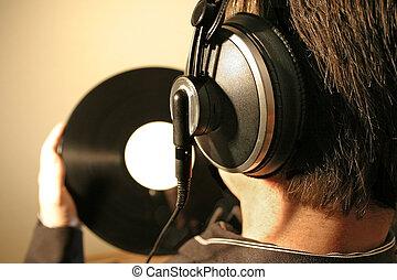 escuchar, el, música