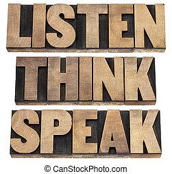 escuchar, pensar, consejo, hablar